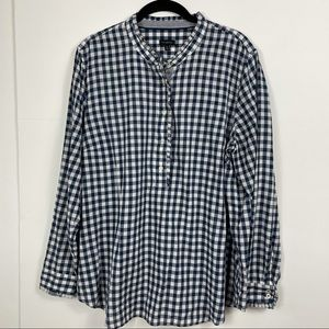 Talbots Ruffled Blue & White Checked Top